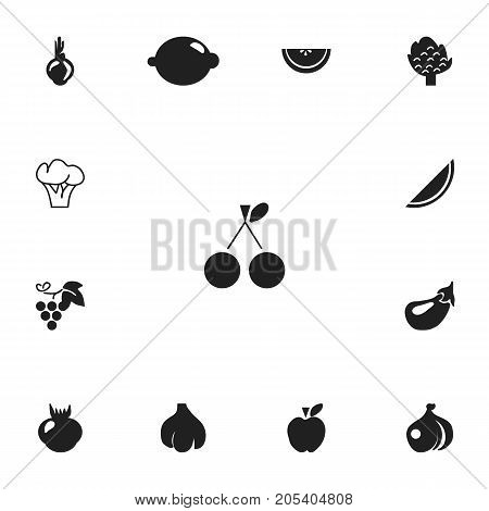 Set Of 13 Editable Dessert Icons. Includes Symbols Such As Morello, Melon, Cantaloupe And More
