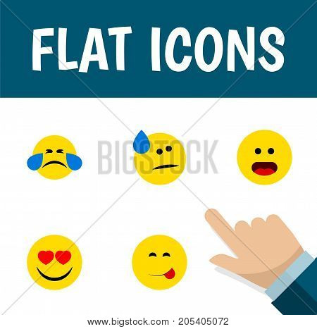 Flat Icon Emoji Set Of Love, Tears, Delicious Food And Other Vector Objects