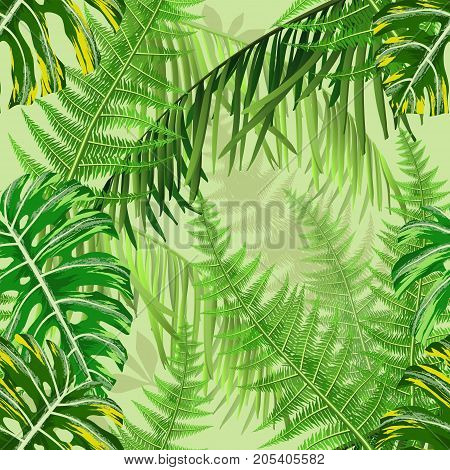 Botanical seamless pattern with tropical leaves and ferns. Vector illustration.