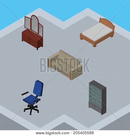 Isometric Furnishing Set Of Couch, Office, Drawer And Other Vector Objects