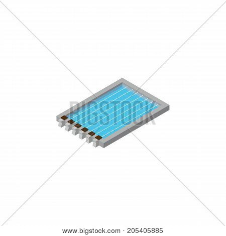 Basin Vector Element Can Be Used For Swimming, Pool, Basin Design Concept.  Isolated Swimming Pool Isometric.