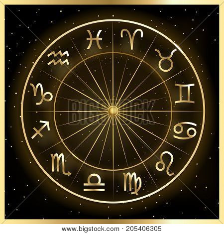 Vector illustration of zodiac circle on cosmic background with stars. Astrology horoscope signs.