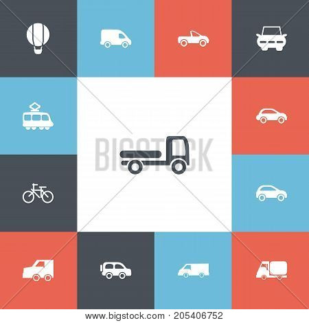 Set Of 13 Editable Transport Icons. Includes Symbols Such As Airship, Drophead Coupe, Family Jeep And More