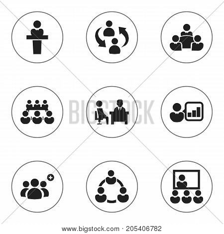 Set Of 9 Editable Business Icons. Includes Symbols Such As Teamwork, Speaker, Partnership And More