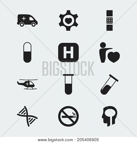 Set Of 12 Editable Clinic Icons. Includes Symbols Such As Medical Aviation, Heart, Drug And More