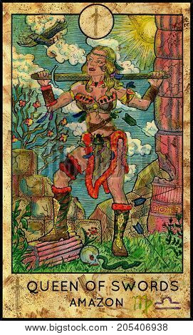 Amazon. Woman warrior. Queen of swords. Fantasy Creatures Tarot full deck. Minor arcana. Hand drawn graphic illustration, engraved colorful painting with occult symbols
