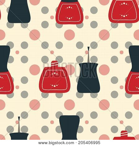 Vector illustration for spa manicure salon. Seamless pattern of nail polish bottles nail brush and lacquer drops. Vintage old style illustration