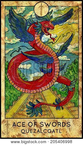 Quetzalcoatl. Ace of swords. Fantasy Creatures Tarot full deck. Minor arcana. Hand drawn graphic illustration, engraved colorful painting with occult symbols