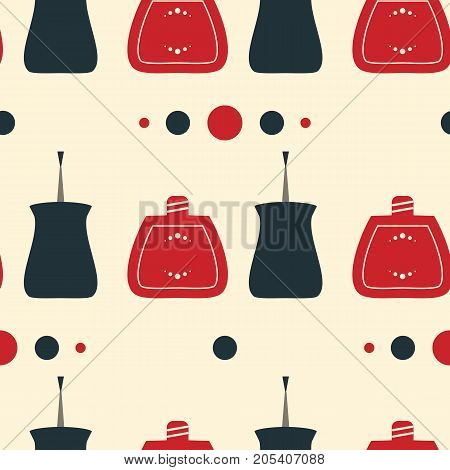 Seamless pattern of nail polish bottles nail brush and lacquer drops. Vector illustration for spa manicure salon. Vintage old style illustration