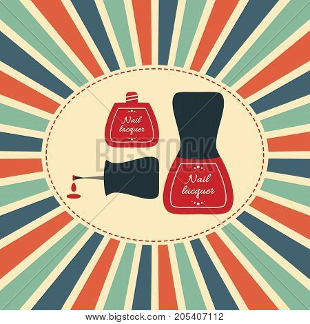 Vector illustration. Old nail polish bottle with red lacquer drop in vintage style