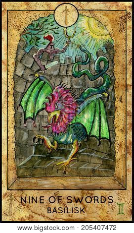 Basilisk. Nine of swords. Fantasy Creatures Tarot full deck. Minor arcana. Hand drawn graphic illustration, engraved colorful painting with occult symbols. Halloween background