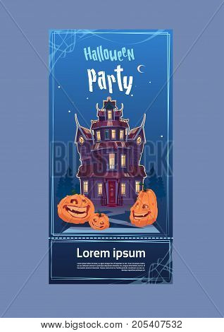 Happy Halloween Gothic Castle With Ghosts In Moonlight Holiday Greeting Card Concept Flat Vector Illustration