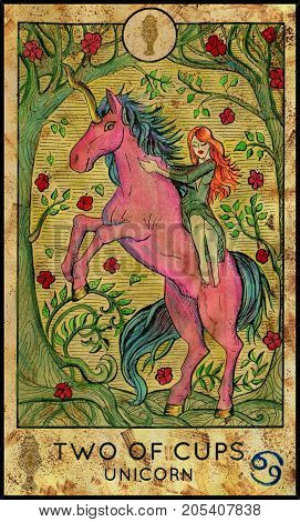 Unicorn. Two of cups. Fantasy Creatures Tarot full deck. Minor arcana. Hand drawn graphic illustration, engraved colorful painting with occult symbols