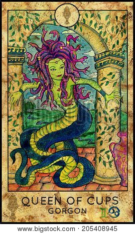 Gorgon. Queen of cups. Fantasy Creatures Tarot full deck. Minor arcana. Hand drawn graphic illustration, engraved colorful painting with occult symbols