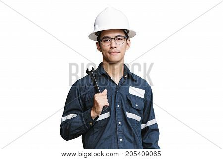 Asian manEngineer or Technician in white helmet glasses and blue working shirt suit holding wrench isolated on white mechanic and Oil and Gas industrial concept with clipping path.