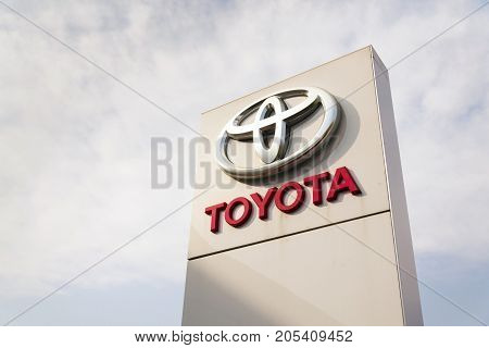 Prague, Czech Republic - September 23: Toyota Motor Corporation Logo On Dealership Building On Septe