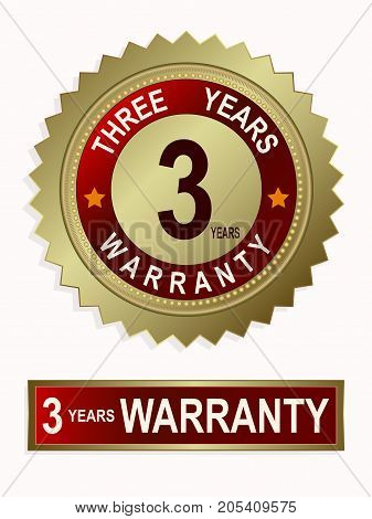 Round and rectangular emblems of golden color with text for three years of warranty