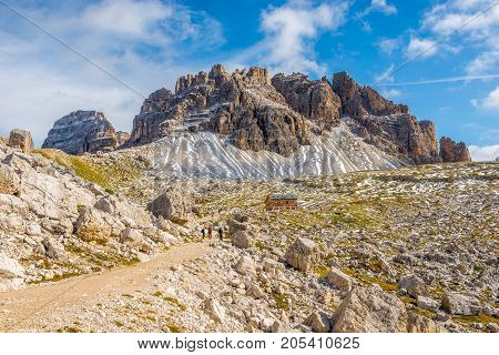 DOLOMITES,ITALY - SEPTEMBER 15,2017 - On wandering through Dolomite mountain walks. The Dolomites are a mountain range located in northeastern Italy.