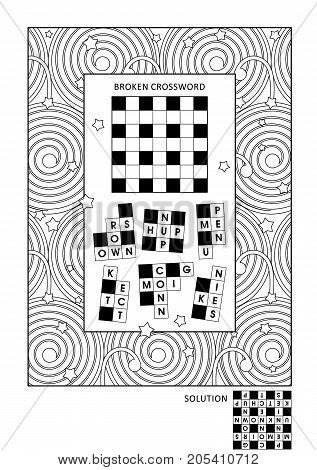Puzzle and coloring activity page for grown-ups with word game (English) and wide decorative frame to color. Family friendly. Answer included.