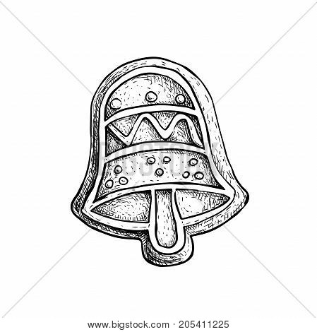 Hand drawn sketch hand bell icing decorated. Traditional Christmas cookie. Vector hand made illustration.