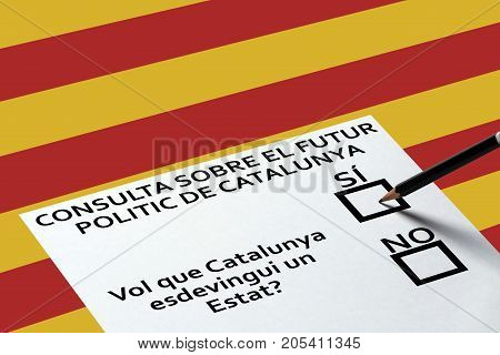 Bulletin for voting on the Catalonia flag background. Democracy Freedom Independence Concept
