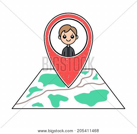 Textured red geotag Catholic priest character pointing at a city map.GPS navigation.Mobile device smartphone app website vector illustration. Religious event icon on a plan. Church preacher symbol.
