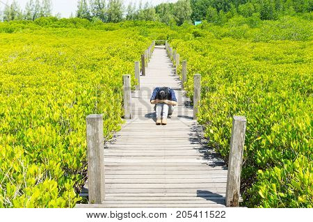 Lonely sad womanTung Prong Thong Golden Mangrove Field background.