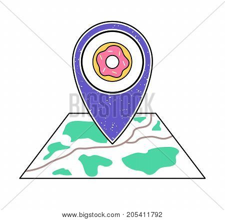 Textured violet geotag icon donut with pink topping symbol pointing at a map. Street food business on a city plan.UIappwebsite vector illustration. Bakery fast food restaurant doughnut shop sign.