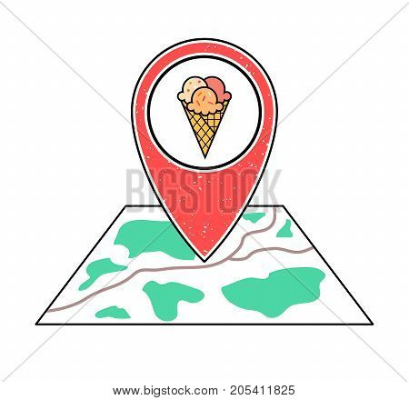 Textured red geotag icon triple ice cream in a waffle cone symbol pointing at a map. Street food business on a city plan.UIappwebsite vector illustration. Summer cafe sign. Dessert delivery search.