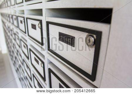 Close up mailbox in condominium for informations