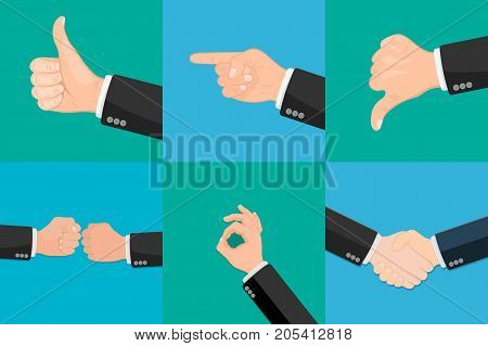 Set of realistic vector hands with various expressions. Thumbs up. Like. Dislike. Good. Ok. Clenched fist. Gesture ok. Pointing finger. Partner handshake.