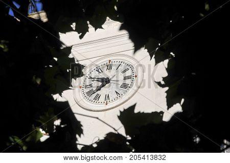 Colonia del Sacramento, Uruguay - 17 February 2014: Clock of the church at the colonial town of Colonia del Sacramento in Uruguay