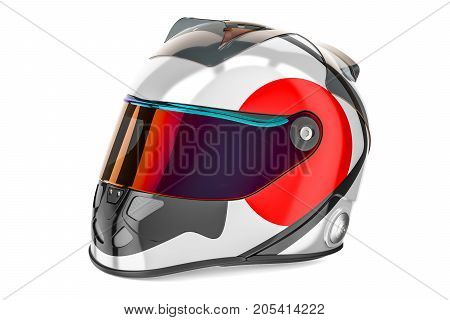 Racing helmet with flag of Japan 3D rendering isolated on white background