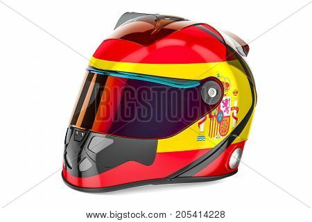 Racing helmet with flag of Spain 3D rendering isolated on white background