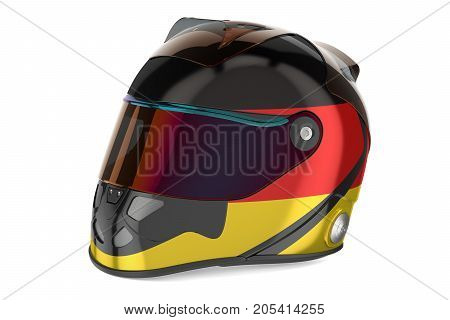 Racing helmet with flag of Germany 3D rendering isolated on white background