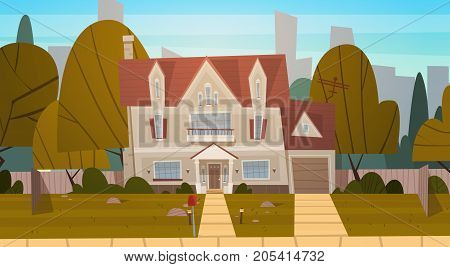 House Building Suburb Of Big City In Summer, Cottage Real Estate Cute Town Concept Flat Vector Illustration