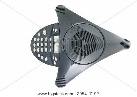 IP conference device on top view with isolated white screen