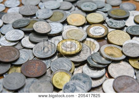 Many coins as a background or texture