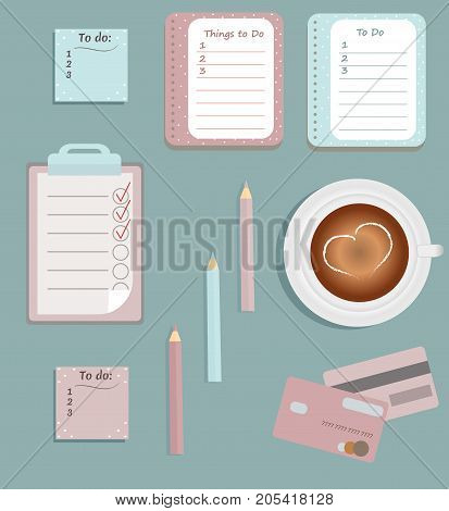 Stationery: The sheets of the planner. To Do Lists. A cup of coffee. Pencils. Credit cards.Vector illustration.