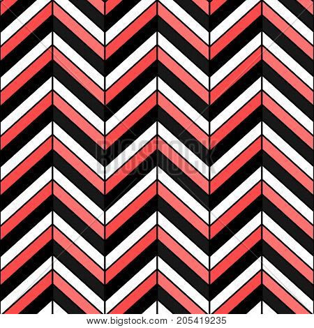 Herringbone colorful seamless pattern. Vector zigzag black white and red texture.