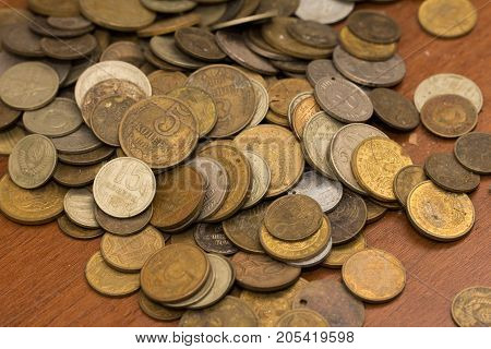 old coins . Photo of an abstract texture