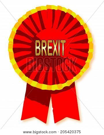A brexit red rosette isolated on a white background