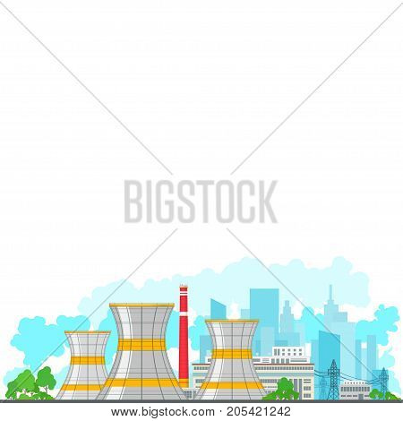 Nuclear Power Plant on the Background of the City Thermal Station on White Background Nuclear Reactor and Power Lines Poster Brochure Flyer Design