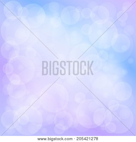 Lilac Blue Soft Bright Abstract Bokeh Background Soft Glow of the Sun Defocused Lights Illustration