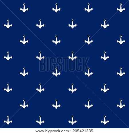 White Anchor on Blue Background Seamless Marine Pattern Travel and Tourism Concept Illustration