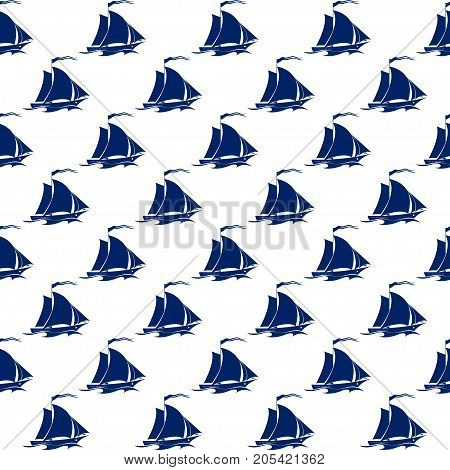 Sailing Vessel Seamless Maritime Pattern Blue Sailboat on White Background Illustration