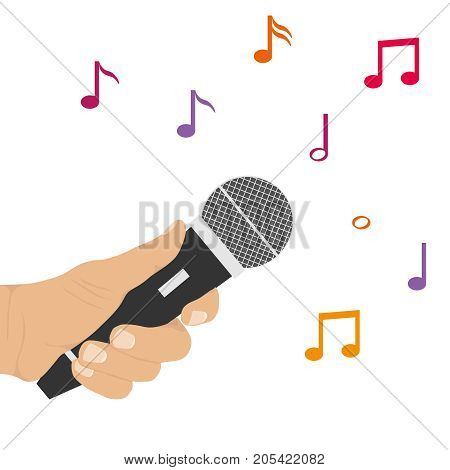 The hand holds the microphone. Microphone and notes. Flat design vector illustration vector.