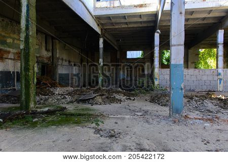 The destroyed building of the factory workshop which worked for the defense industry of Ukraine. Robbery and an act of vandalism. September 2017