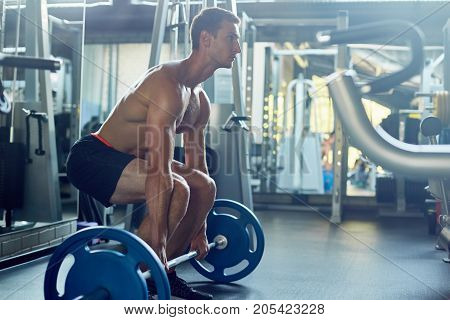 Profile view of concentrated young athlete with naked torso preparing for weightlifting training at spacious modern gym, full length portrait