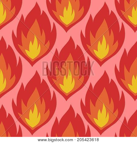 Fire symbols seamless pattern vector illustration spurts of flame red orange background. Safe danger accident flame protection flammable art bonfire texture.